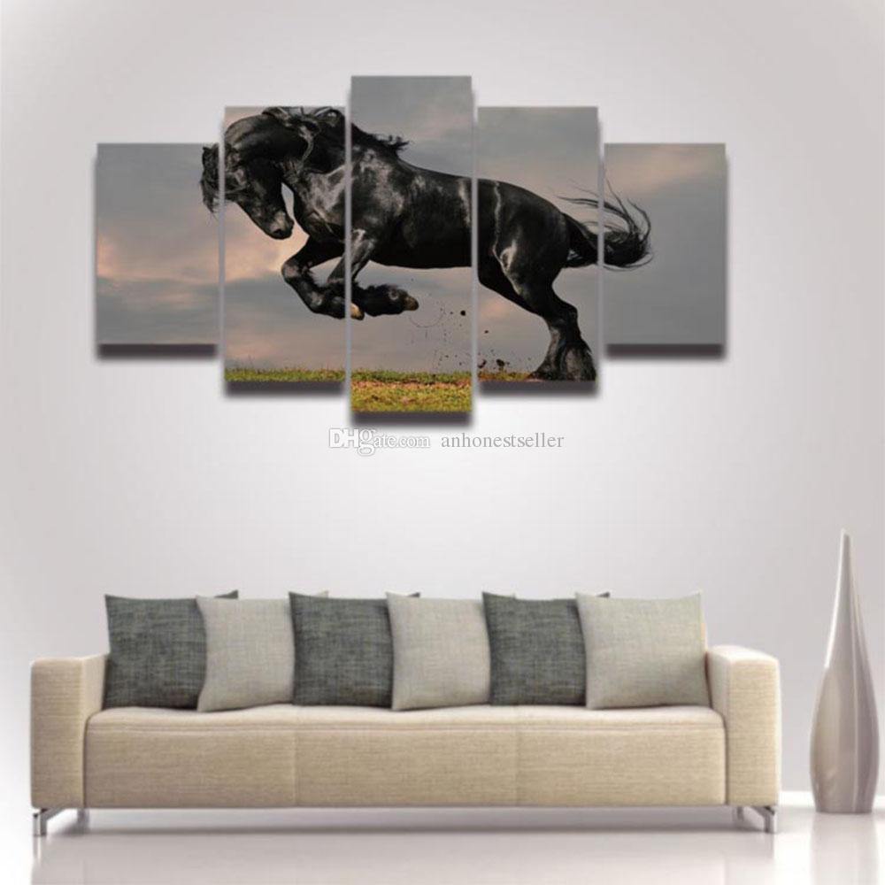 2018 Modern Canvas Wall Art Horse Painting Modular Picture Hd Prints ...