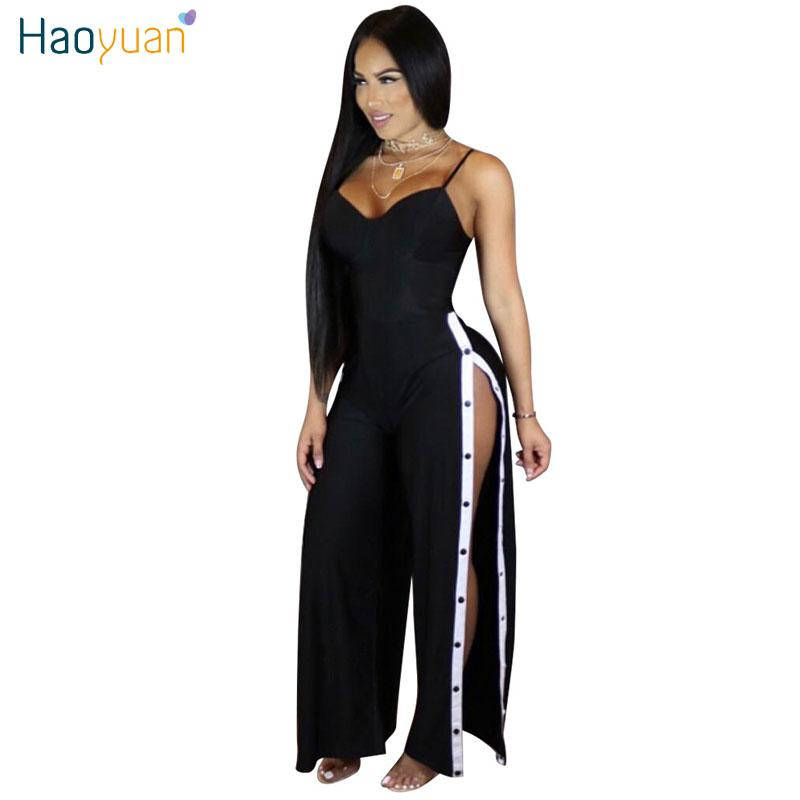 73812678cedf HAOYUAN Spaghetti Strap Loose Jumpsuits 2017 New Summer Leotard Full Bodysuit  Overalls Side Split Sexy Rompers Women Jumpsuit Q1110 High Quality Sexy ...
