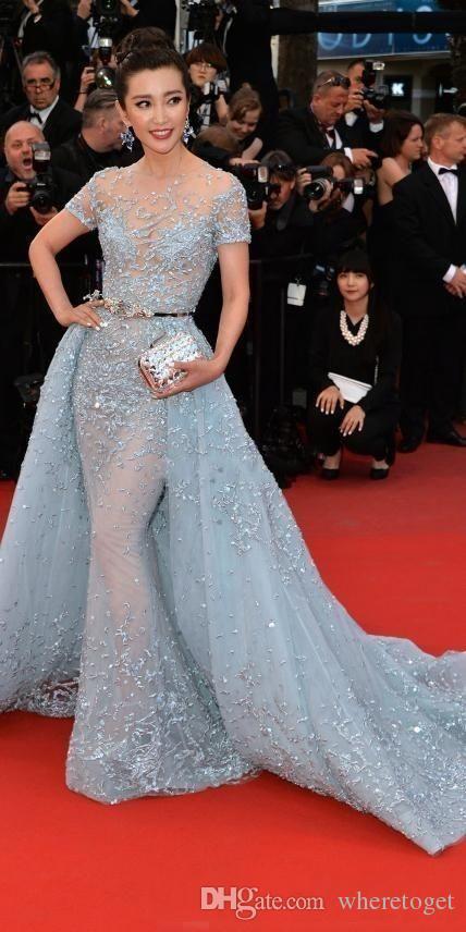 Li Bingbing dans Zuhair Murad Tapis rouge robes de soirée overskirts dentelle perles Applique dentelle à manches courtes Poète officiel Prom Celebrity Robes