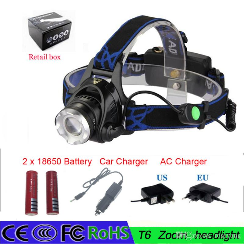 Hot Selling 2000 Lumens CREE XM-L T6 LED Zoomable Headlamp Adjustable Lamp Torch+EU/US plug Charger+Battery