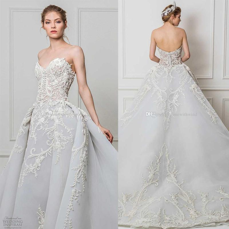 Grey Blue Ball Gown Wedding Dresses 2017 Maison Yeya