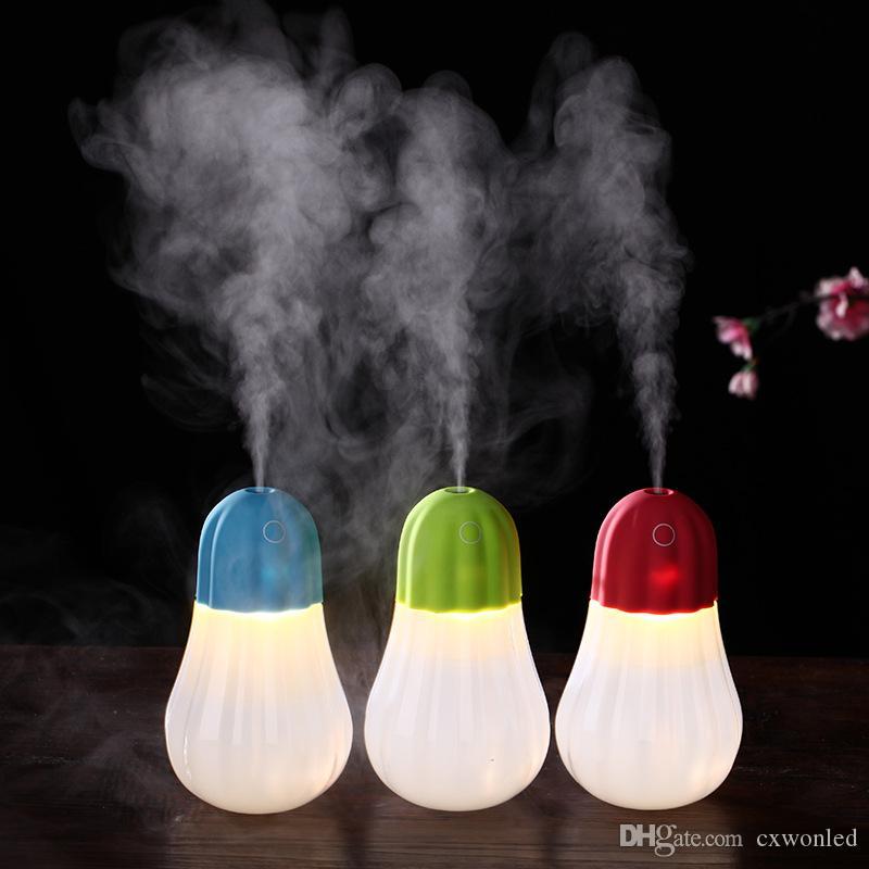 Toque inteligente de abóbora mini umidificador Night Light LED Slient pulverização conveniente USB luz do carregador levou noite