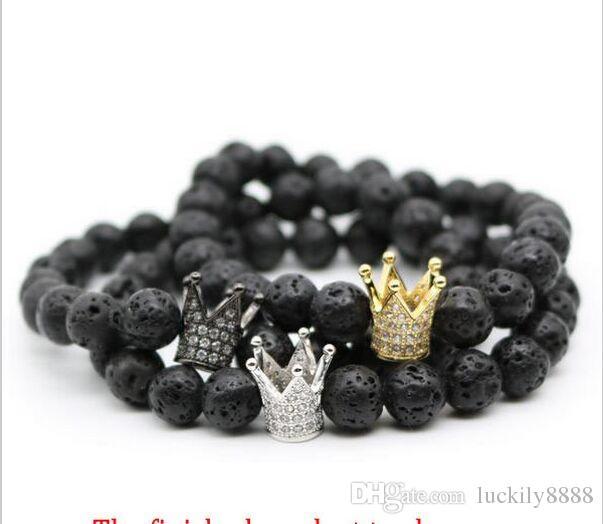 30 teile / los Crown Strass Europäischen Stil Charm Perlen Micro Pave Metall Kristall Spacer Perlen Für Armband Diy Schmuck Machen 12x10mm