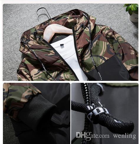 Erkek ceket Bahar erkek Kamuflaj Ceket Erkek Hoodies Rahat Ceket Marka Giyim Erkek Rüzgarlık Mont Erkek Dış Giyim