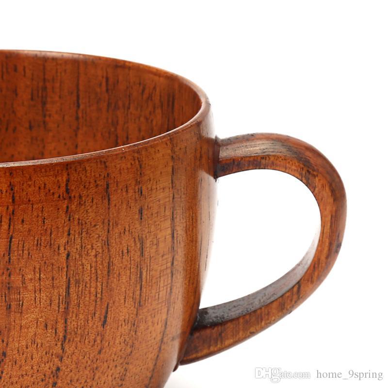 Tazza da tè in legno classico da 200 ml Tazza da caffè in legno naturale tazza di giuggiola con impugnatura latte / acqua / tazza di succo i bambini bar casa