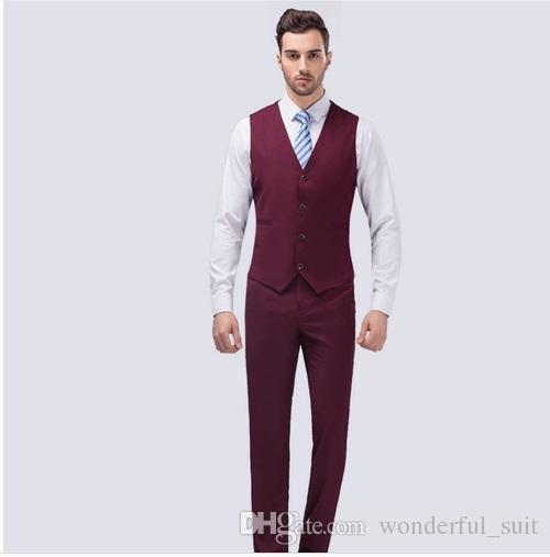 2017 Famous Brand Mens Abiti da sposa Sposo 3 pezzi giacca + vest + pant Tuxedo Suit Slim Fit uomo