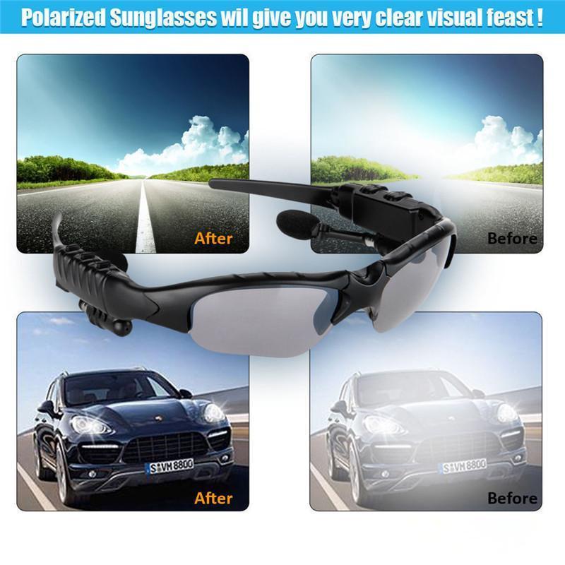 Wireless Bluetooth Sunglasses Headset Sunglass Stereo Sports SmartHeadphone Handsfree Earphones Music Player for iPhone Samsung HTC With Box