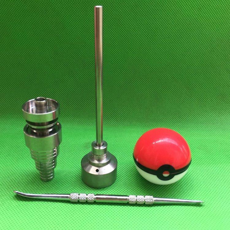 Pokeball 컨테이너 항아리와 함께 유리 봉 도구 세트 10mm 14mm 18mm 조정 가능한 도리스 체 GR2 티타늄 못 카브 캡 Dabber 유리 파이프 용 도구