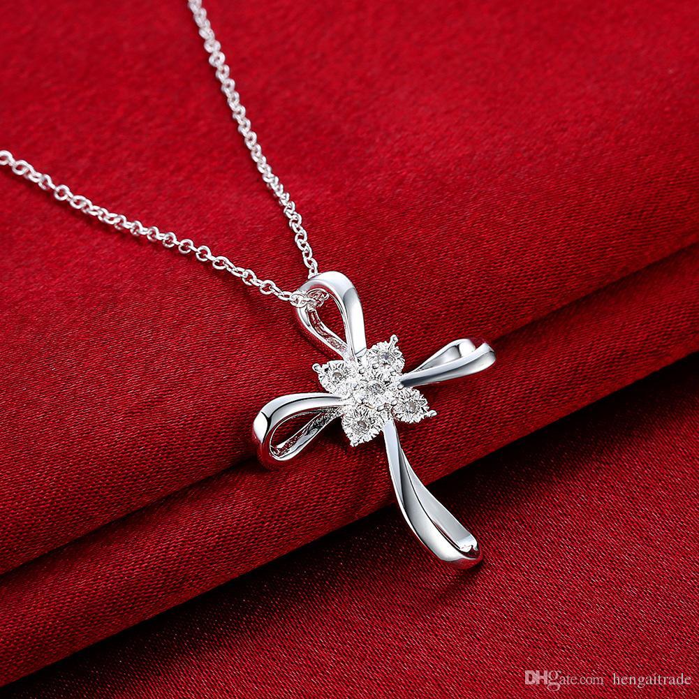 / Envío gratis joyería plateada plata del collar de la vinculación LKNSPCN890