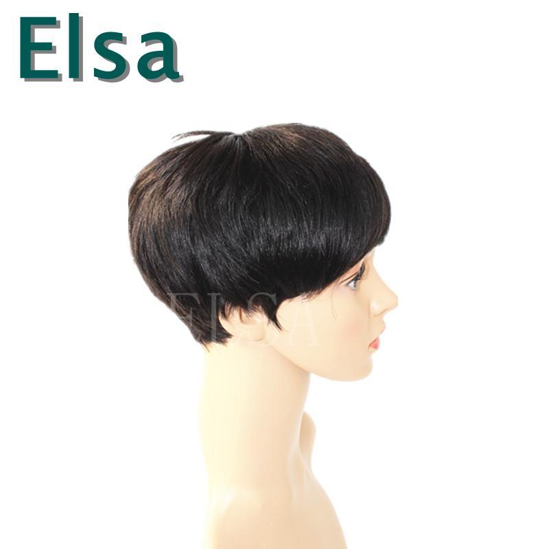 인간의 머리 가발 웨이브 짧은 glueless 가발 인간의 머리 자연 가파트 가발 브라질 / 페루 머리카락 레이스 정면가 발 흑인 여성을위한 새로운 도착