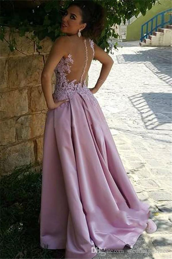 Zarif Saten Jewel Uzun Abiye Gelinlik Modelleri Düğme Geri Aplikler Kat-uzunluk Örgün Abiye giyim Özel Durum Elbise