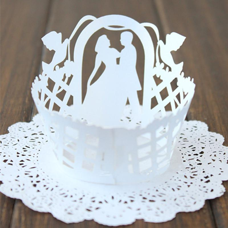 White Wedding Pearlized Lace Cupcake Wrappers Laser Cut Muffin Cupcake Paper Cups Cake Tool Decoration