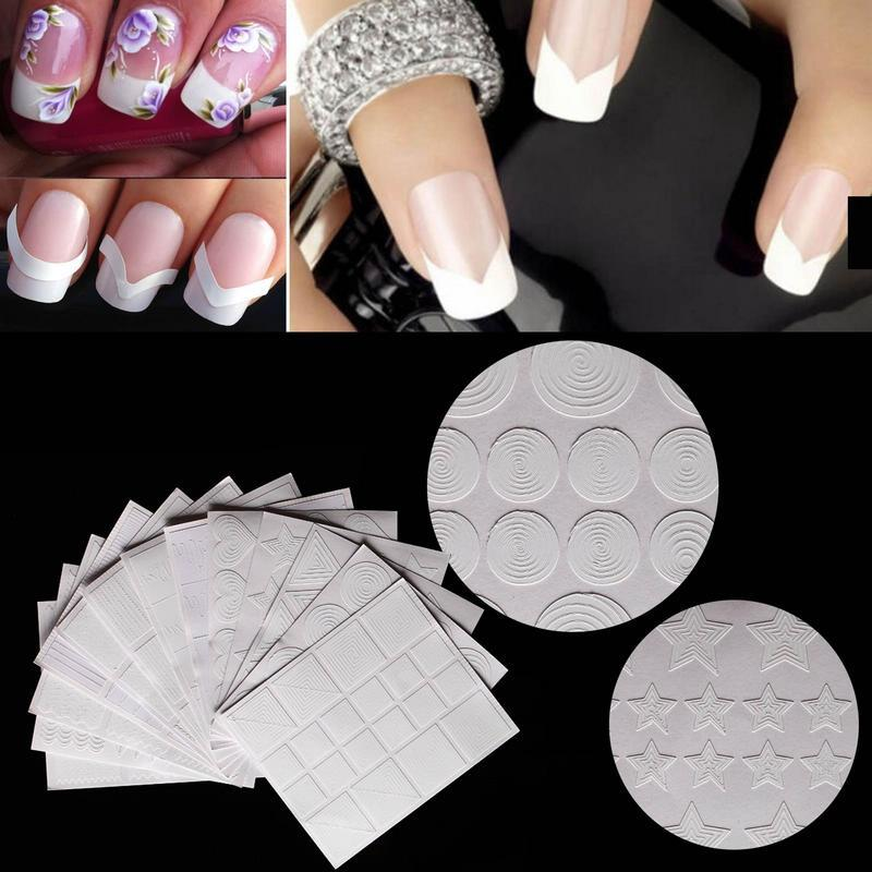 12 StylesManicure Diy Nail Art Form Fringe Guides French Sticker ...