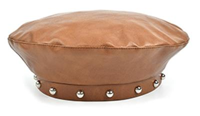 Stand Focus Women Faux Leather Studs French Beret Painter Flat Baker Boy Hat Newsboy Cap Ladies Fashion Fall Winter Black Brown Stylish Cool