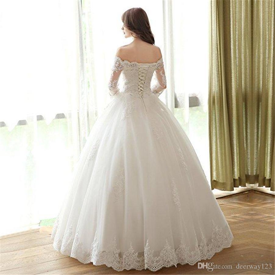 Pas cher The Boat Boat Col 3/4 manches à lacets Mariées Vintage Robes de mariées Vintage Plus Taille Robes de mariée