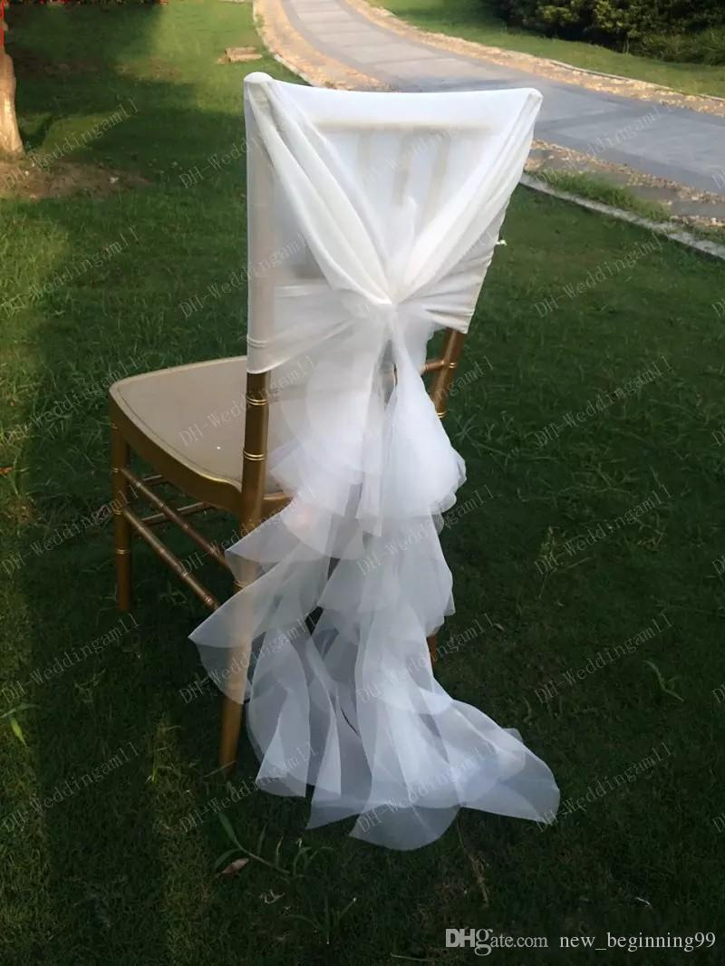 2018 Organza Ruffles Chair Sash for Weddings Ivory Wedding Decorations Chair Covers Chair Sashes Wedding Accessories