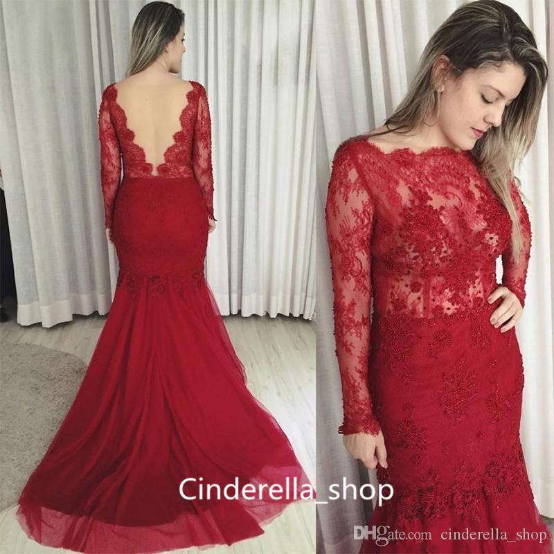Cheap Plus Size Red Lace Evening Dresses Long Sleeves 2017 Jewel