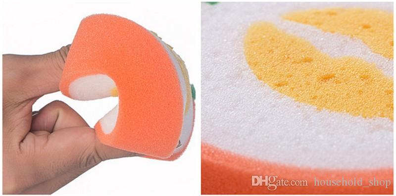 Microfiber Sponge Cute Fruit Shape Scouring Pad Cleaning Cloth Strong Remove Stains Thickened Sponge Kitchen Tools