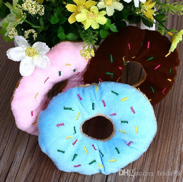 Sightly Adorável Pet Dog Puppy Cat Squeaker Quack Sound Toy Chew Donut Play Toys G856