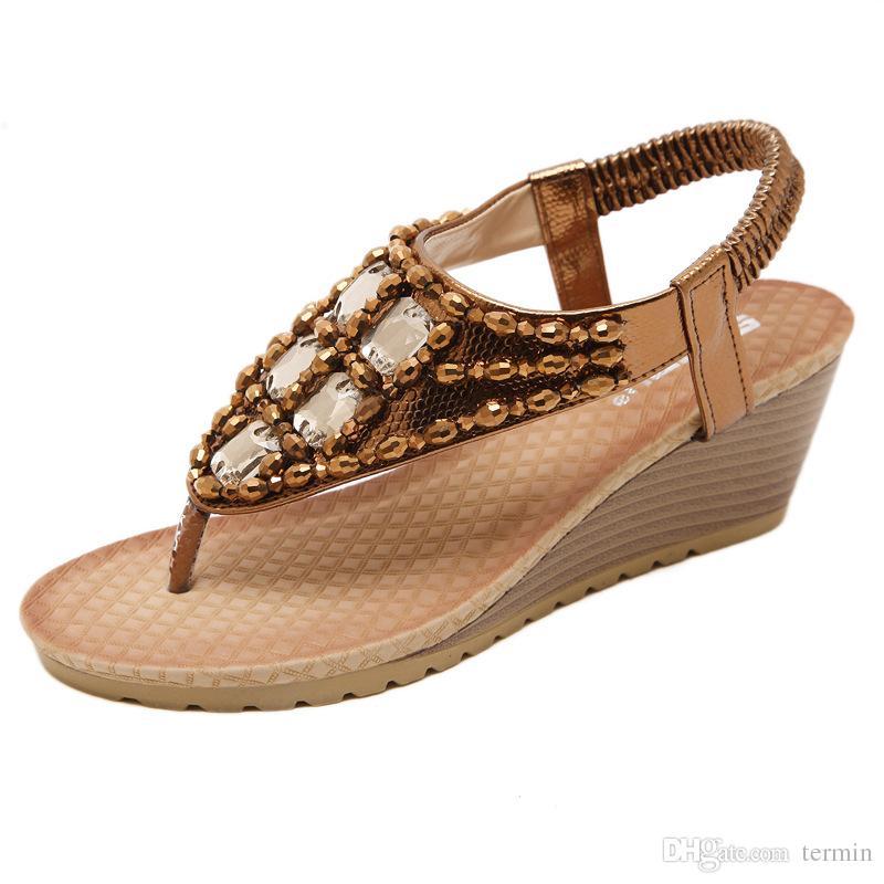 8920ecf3818 Sandals Comfortabel Sandals Women Summer Classic Rhinestone Fashion Women  Shoes Gladiator High Quality Sandals Bohemian Style. LX-043