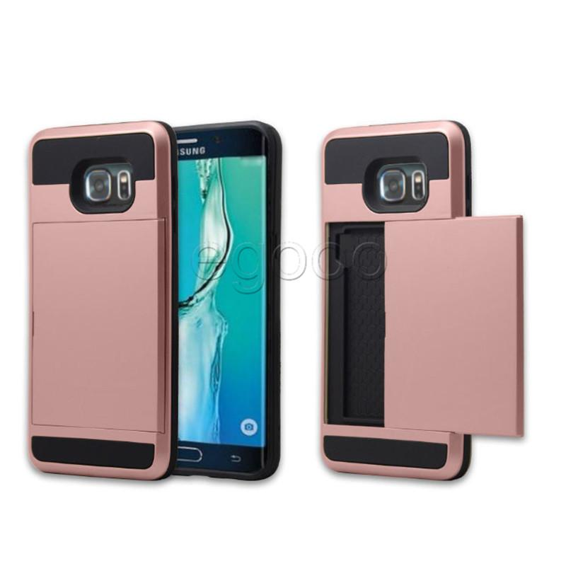 Dual Layer Card Slide Case Armor Hybrid Commuter Cover With OPP Bag For iPhone 6 7 8 Plus For S7 edge S8 S9 S10 Plus S10E Huawei P8 Mate7