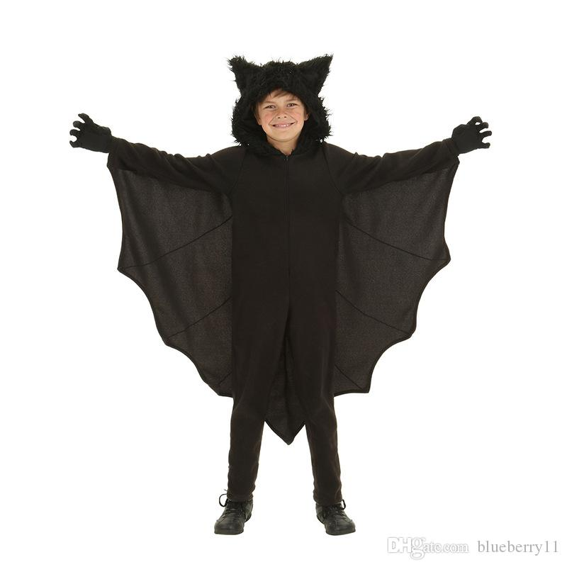 2017 Winter Halloween Cosplay Costumes Bat clothes Black Bats Cut Fanny Dress Up Party Costume For Children with Gloves