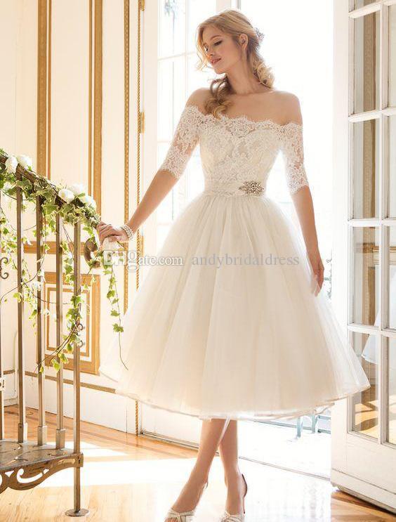 2c72c3c57035 Discount 2017 Gorgeous Ivory Knee Length Wedding Dresses A Line Off The  Shoulder Lace Appliqued Bridal Gowns With Sash Vestidos De Mariage Custom  ...