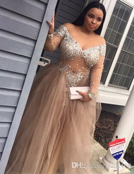 Modest Plus Size Prom Dresses With Sleeves 2017 Beading Sheer Long