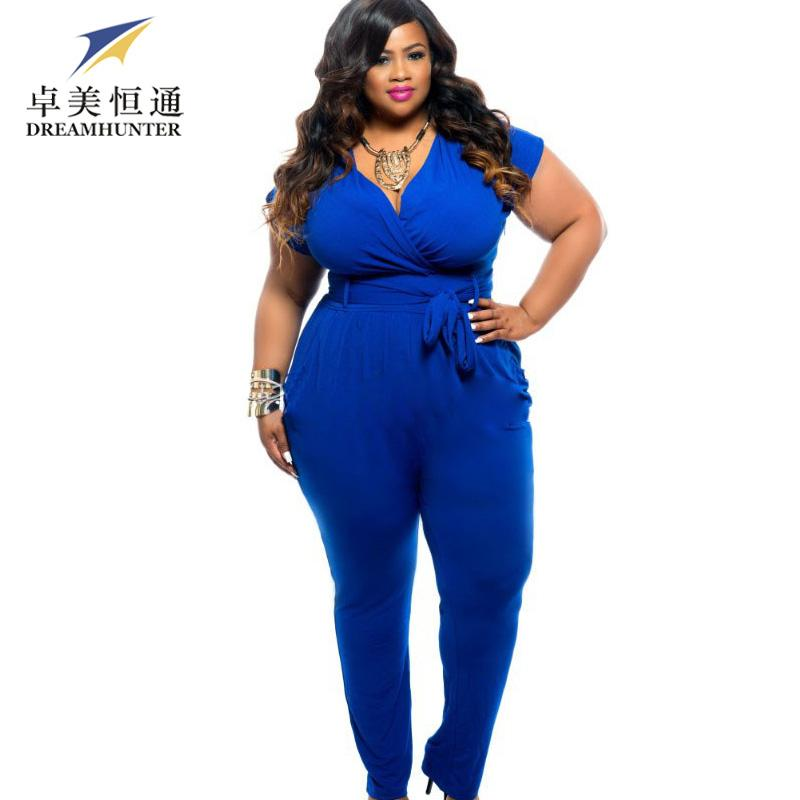 7808105b135 2019 Wholesale Sexy Deep V Neck Jumpsuits Plus Size Tie Waist Rompers Women  Black Blue Shorts Sleeve Jumpsuit Club Wear From Volontiers