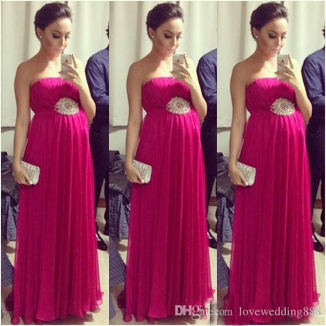 2018 Fuchsia Empire Pregnant Prom Dresses Strapless Sleeveless Pleated Maternity Women Evening Formal Dress Red Carpet Celebrity Gowns