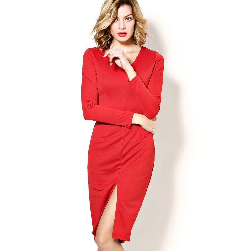 f11db8b45d43e Hot Sale Wholesale Womans Clothes 2017 New Arrivals Long Sleeve Midi Dress  Office Ladies Work Pencil Dresses Dark Red