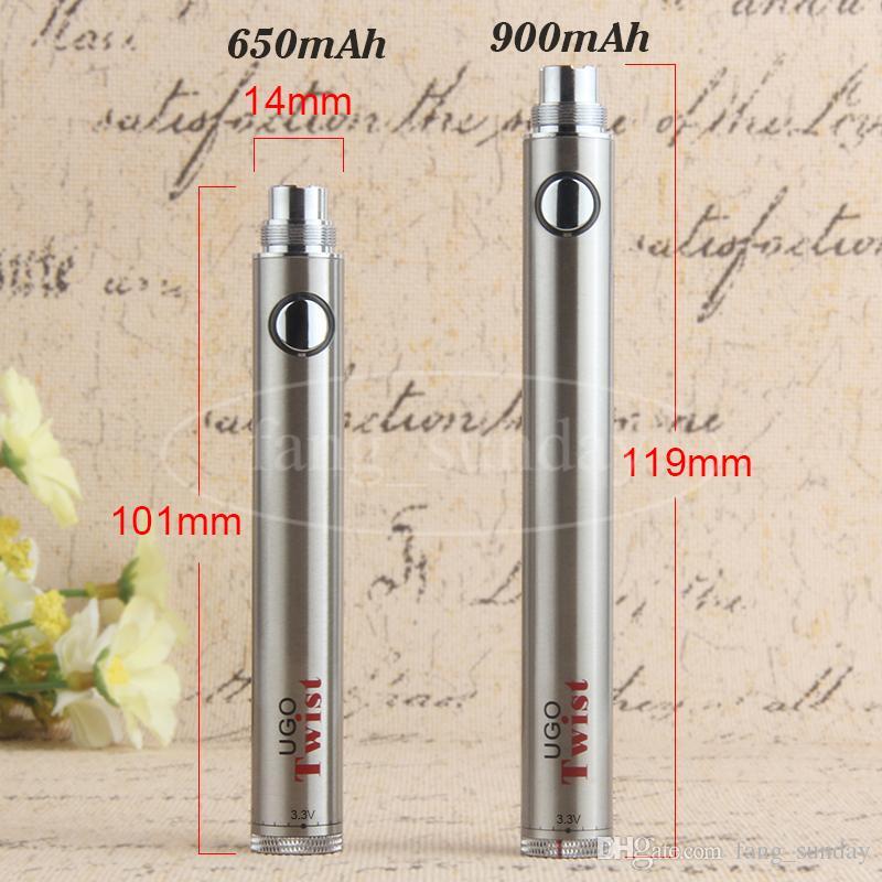 Evod ugo torção 3.3-4.2 v ego variável tensão vape caneta vv bateria 650 900 mAh 510 atomizador com micro usb pass carregador