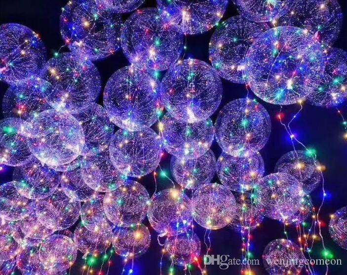 Decoração de natal Luminosa Led Balão Colorido Transparente Rodada Decoração Bolha Balões De Casamento Festa de Iluminação no Escuro 3 M Corda