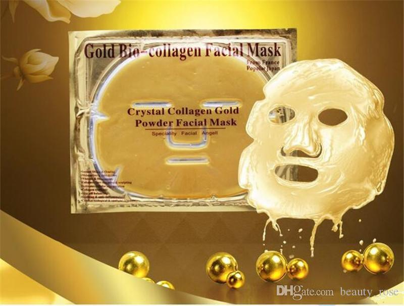 Gold Bio-Collagen Facial Mask Face Mask Crystal Gold Powder Collagen Facial Masks Moisturizing Anti-aging beauty products DHL free