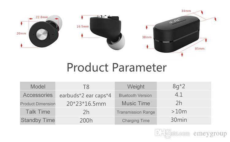 Cuffie auricolari Bluetooth TWS T8 Mini Cuffie auricolari wireless Auricolari stereo sportivi veri con Smart Charging Box