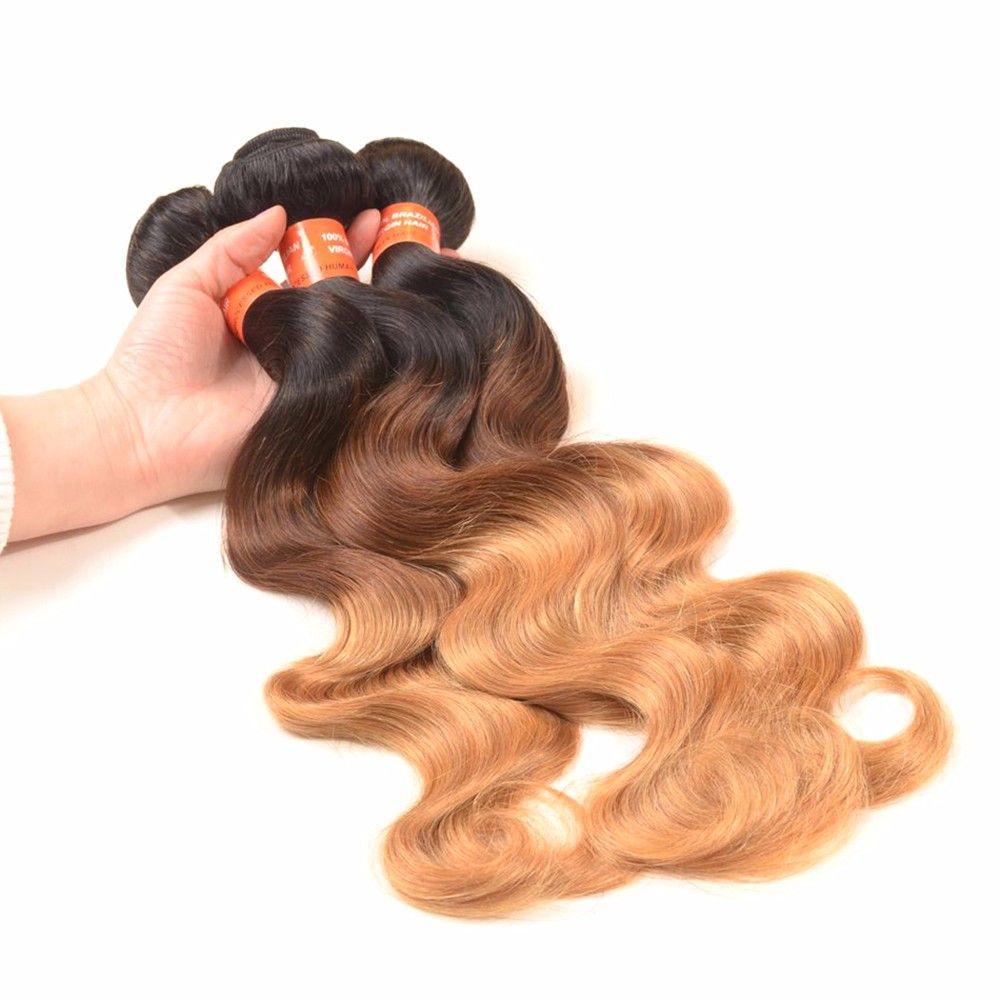 Omber #1b/4/27 Honey Blonde Body Wave Hair Extension Brazilian Human Weave Hair Ombre Blonde Hair Extension Brown Blonde Bundles