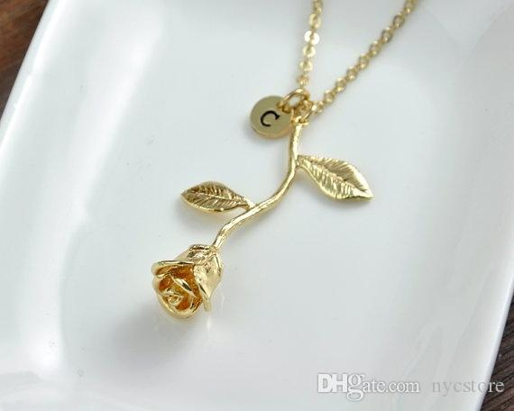 Wholesale gold rose necklace beauty and the beast rose for Rose gold personalized jewelry