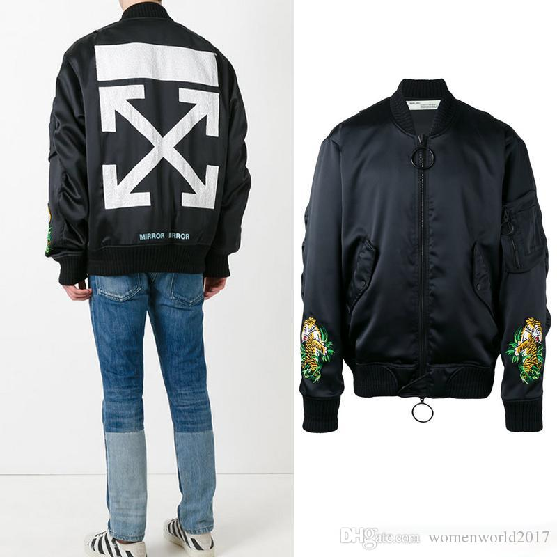 OFF WHITE Bomber Jacket Outwear For Men Off-White Mirror Arrows ...