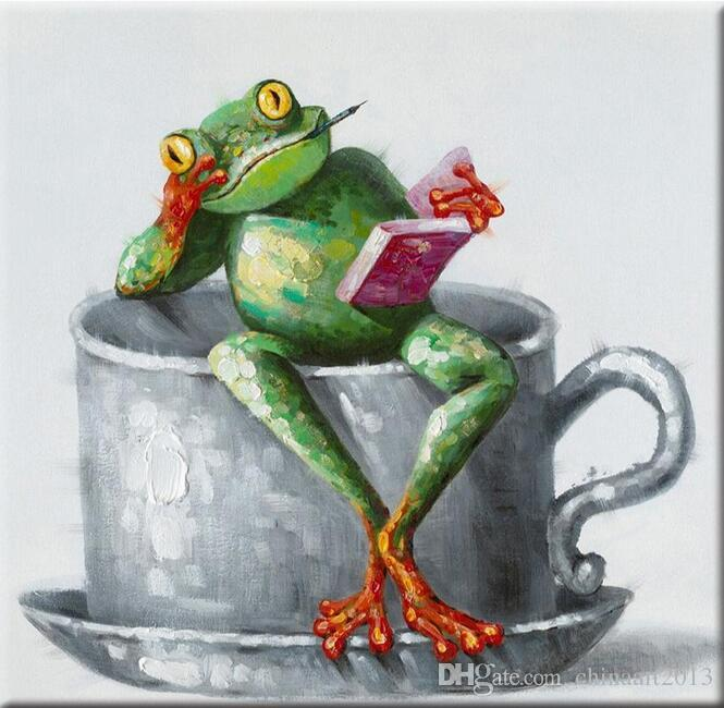9cc7582a13f0 2019 No Frame Hand Paint Oil Painting On Canvas Modern Abstract Funny  Animals Frog Art For Living Room 24X24inch From Chinaart2013