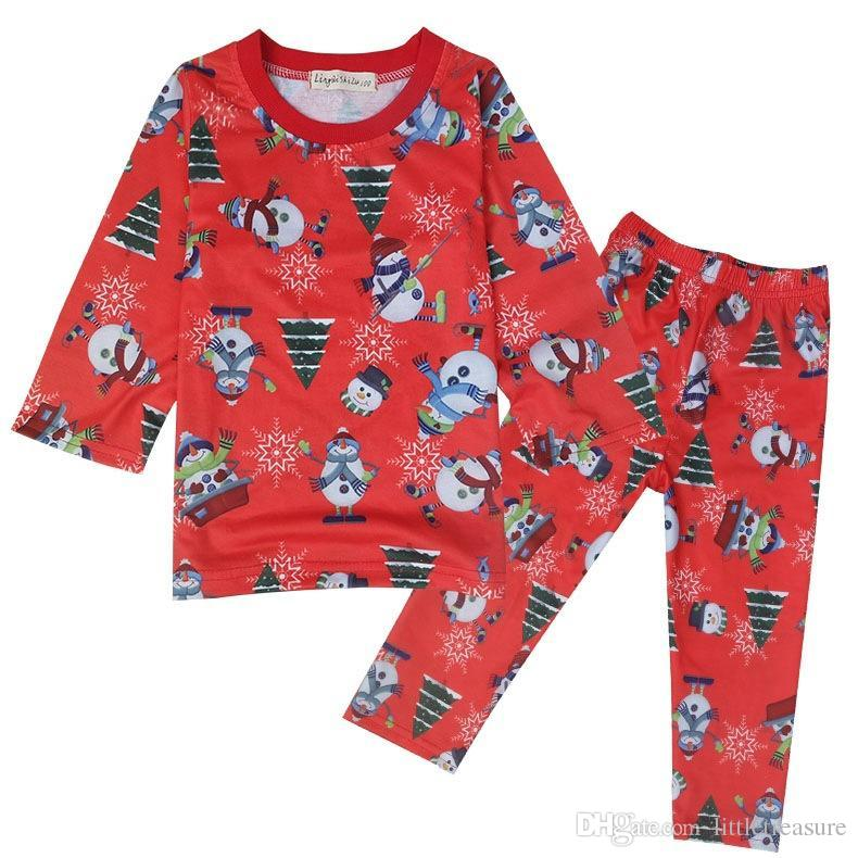 kids pjs clothing sets autumn christmas cartoon printed red pajamas toddler baby boys girls xmas tops pants outfits suit kids personalized christmas - Christmas Pjs Toddler