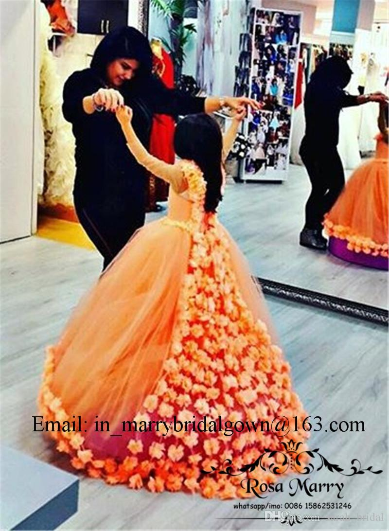 Princess Coral 3D Floral Girls Pageant Flower Dresses 2020 Ball Gown Long Sleeves Plus Size Muslim Arabic Cupcake Glitz Toddler Pageant Gown