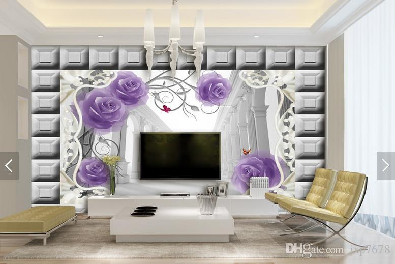 Tv Background Murals 3d Wallpaper Purple Rose Roman Column Living Room Sofa  Seamless Wall Wallpaper European Style Wallpaper Flowers Wallpapers  Football ... Part 78