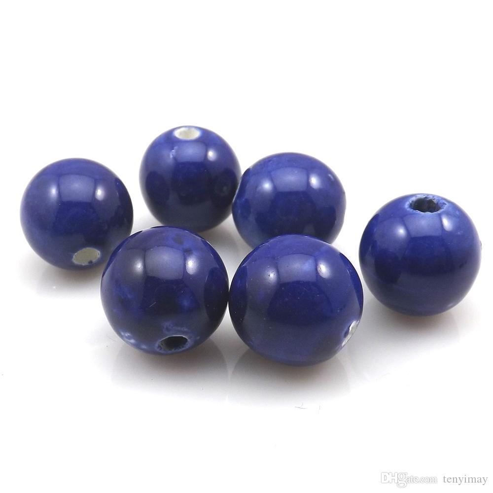 High Quality 14mm Royal Blue Round Ceramic Loose Beads For DIY Jewelry Making