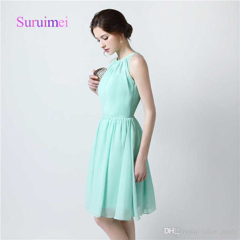 Mint Green Chiffon Short Prom Dresses Jewel Neck 2019 Cocktail Dress Boho Sexy Special Occasion Homecoming Gowns