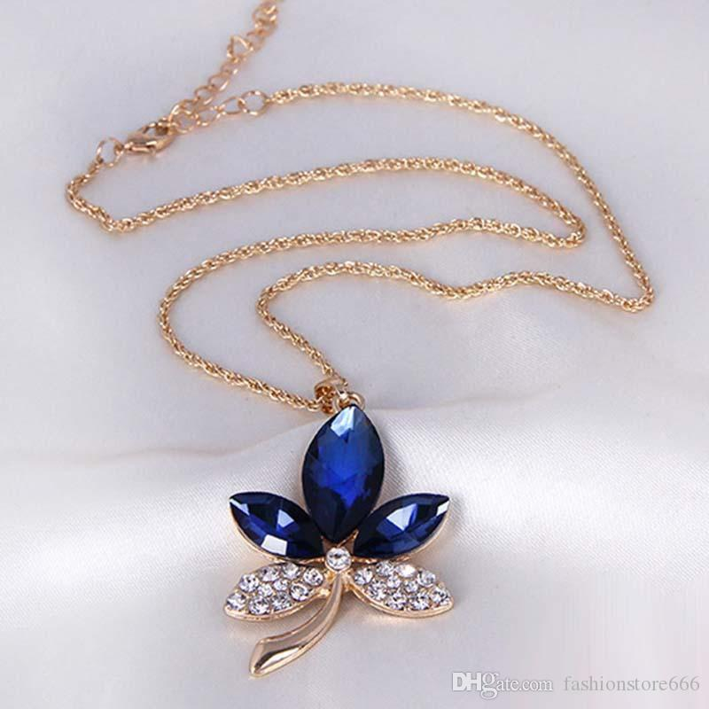 Fashion Gold Plated Indian Jewelry Set New Maple Leaf Pendant Necklace Blue Crystal Earrings Wedding Sets For Women
