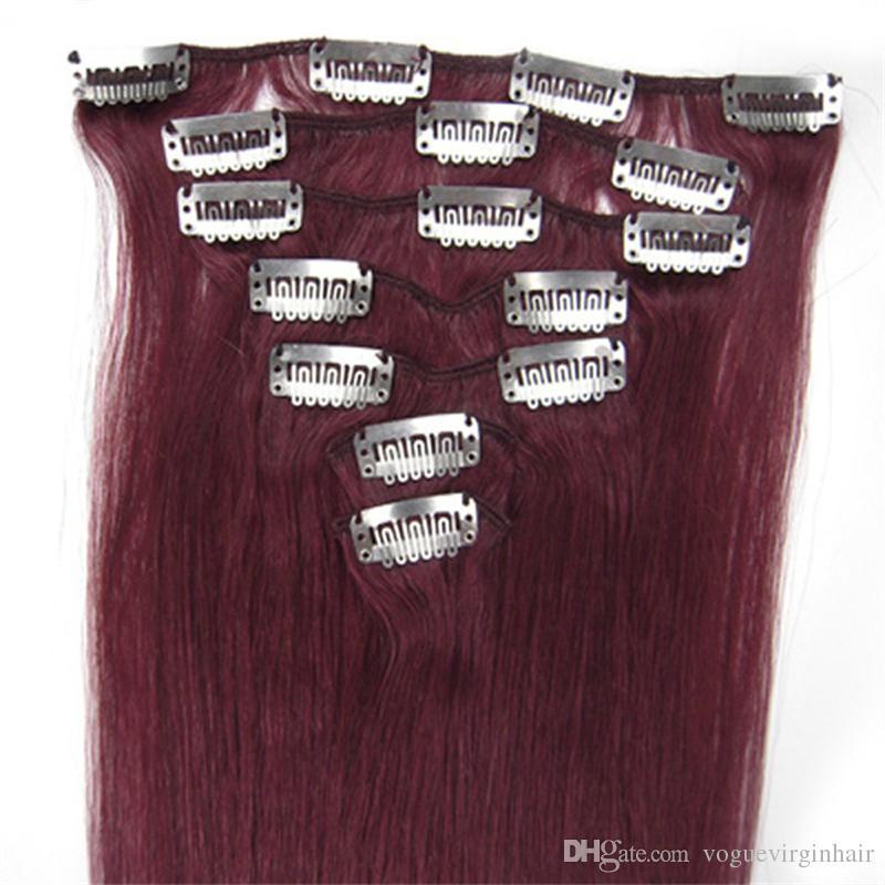 인간의 머리카락 확장 클립 더블 인간의 머리카락 연장 클립에서 유행 버크 클립을 그려