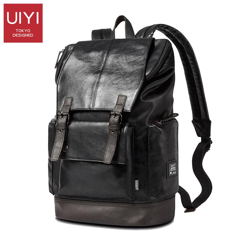 9e52c485c85e Wholesale UIYI Fashion Men Black Backpack Leather Bag Men Travel Backpack  Laptop Famous Brands High Quality Male Backbag  UYB16019 Herschel Backpacks  Best ...