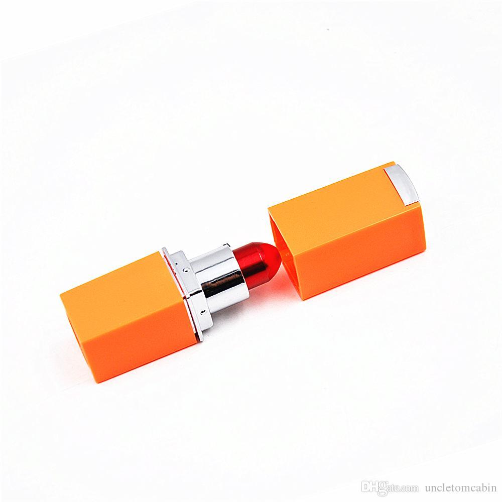 Varejo / Atacado Metal Tubulação de Fumar Vermelho / Roxo Moda Magia Batom Tubulação Mini Portátil Metal Fumar Pip Cleaner Acessório Filtertips Caps