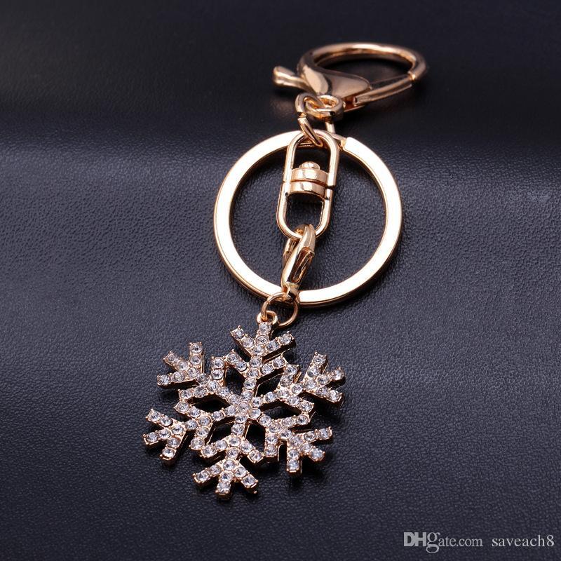 Snowflake Lovely Crystal Rhinestone Keyrings Keychains Handbag Pendant  Charm Jewelry Key Chains Holder For Women Jewelry Gift Key Fob Key Holder  From ... 6e7c1161acf1