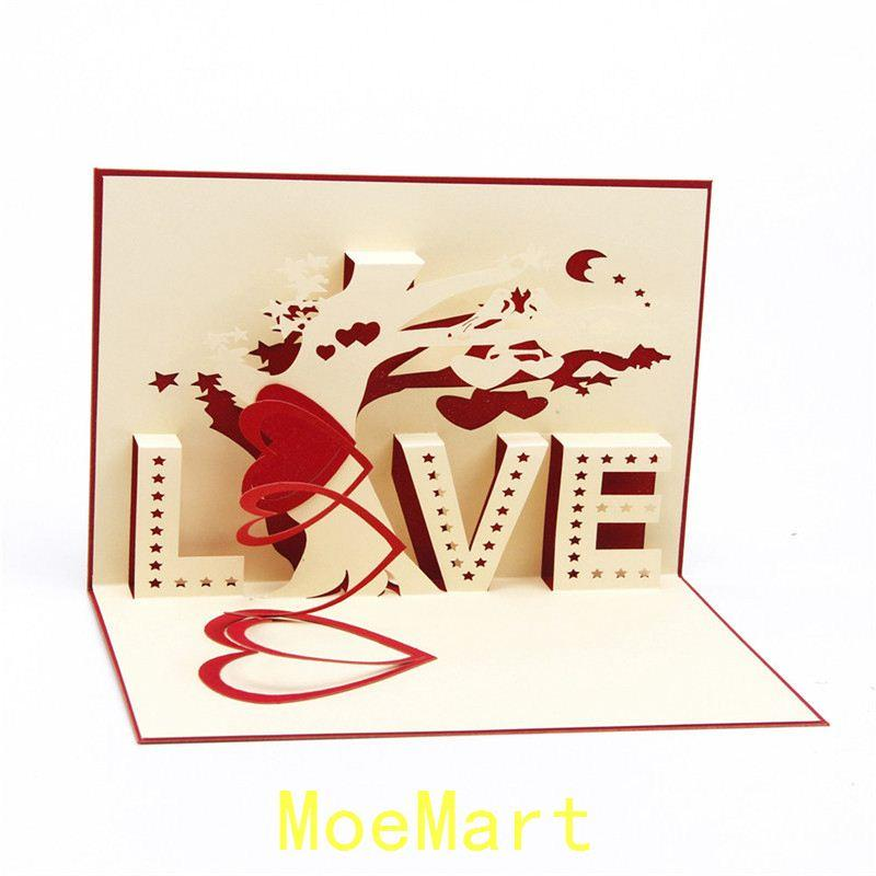 3d hollow love valentines day greeting card ommemorate birthday postcards love tree blessing small note gift card birthday postcards online birthday wishes - Valentine039s Day Greeting Cards